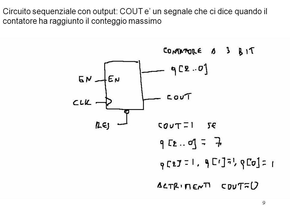 9 Circuito sequenziale con output: COUT e un segnale che ci dice quando il contatore ha raggiunto il conteggio massimo