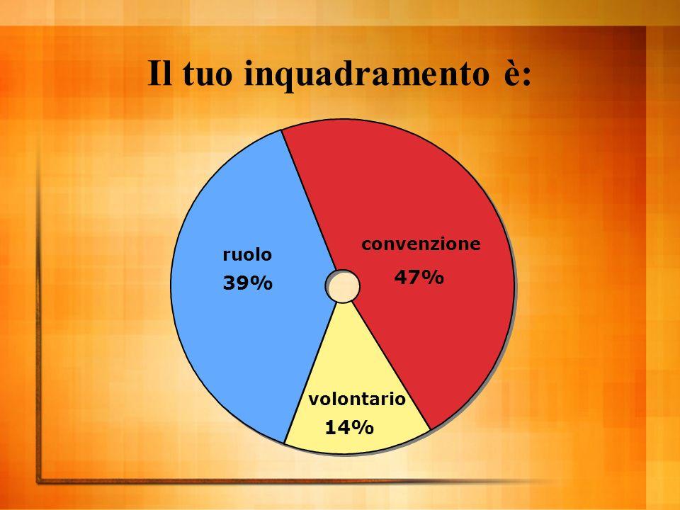 Il tuo inquadramento è: convenzione 47% volontario 14% ruolo 39%