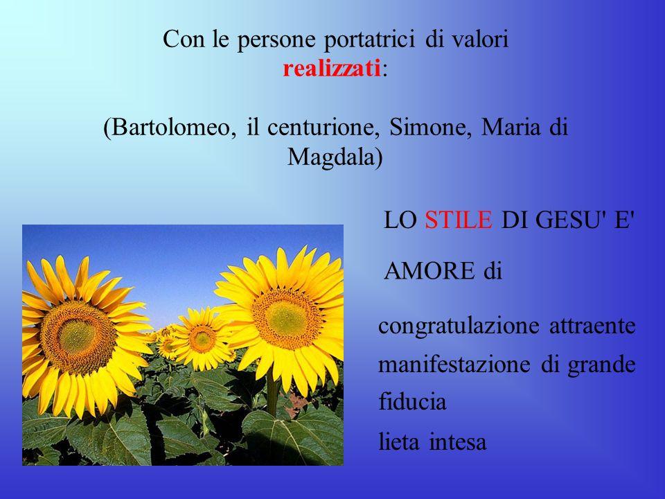 Con le persone portatrici di valori realizzati: (Bartolomeo, il centurione, Simone, Maria di Magdala) LO STILE DI GESU' E' AMORE di congratulazione at