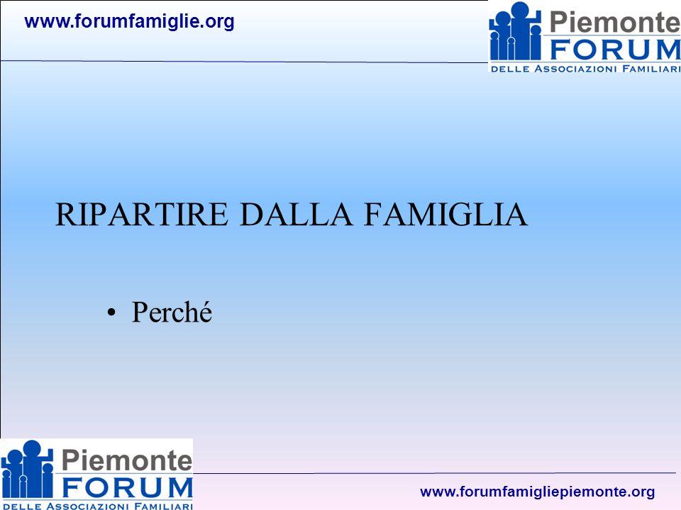 www.forumfamiglie.org www.forumfamigliepiemonte.org Il passo successivo Attivare un tavolo famiglia per –Ascoltare le associazioni, i gruppi … per raccogliere le esigenze, le risorse in campo, le possibili soluzioni, raccogliere esperienze … –Individuare la possibilità di avviare la consulta della famiglia