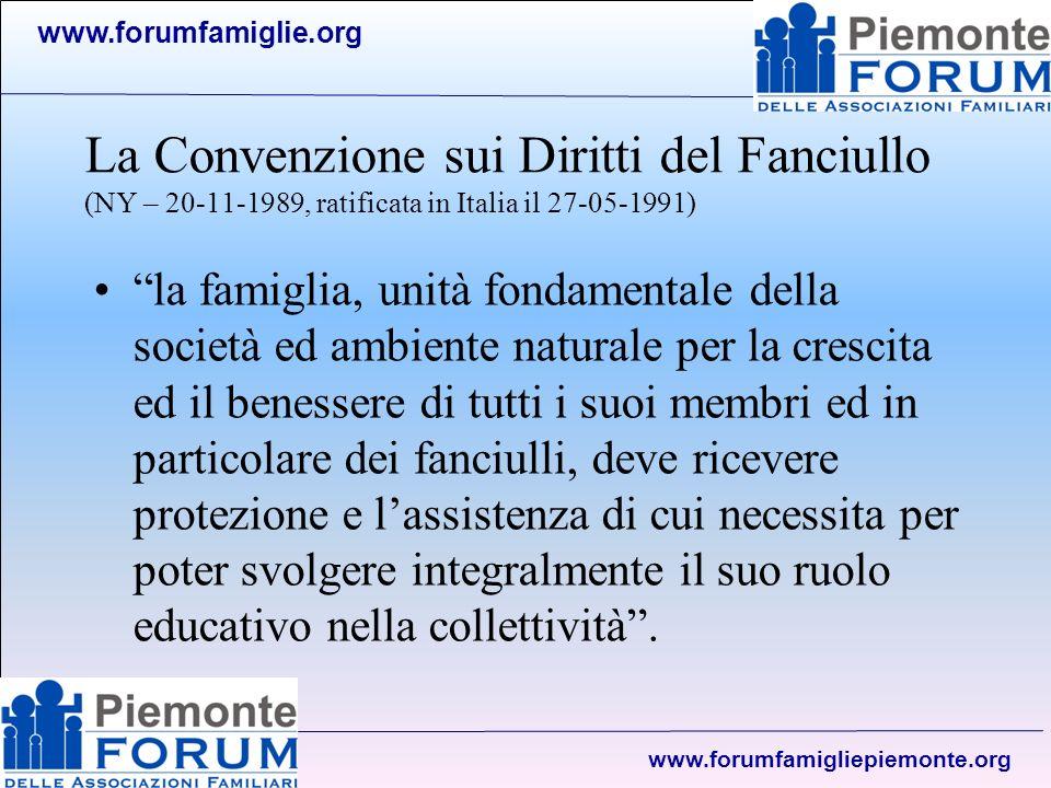 www.forumfamiglie.org www.forumfamigliepiemonte.org La Costituzione della Repubblica Art.