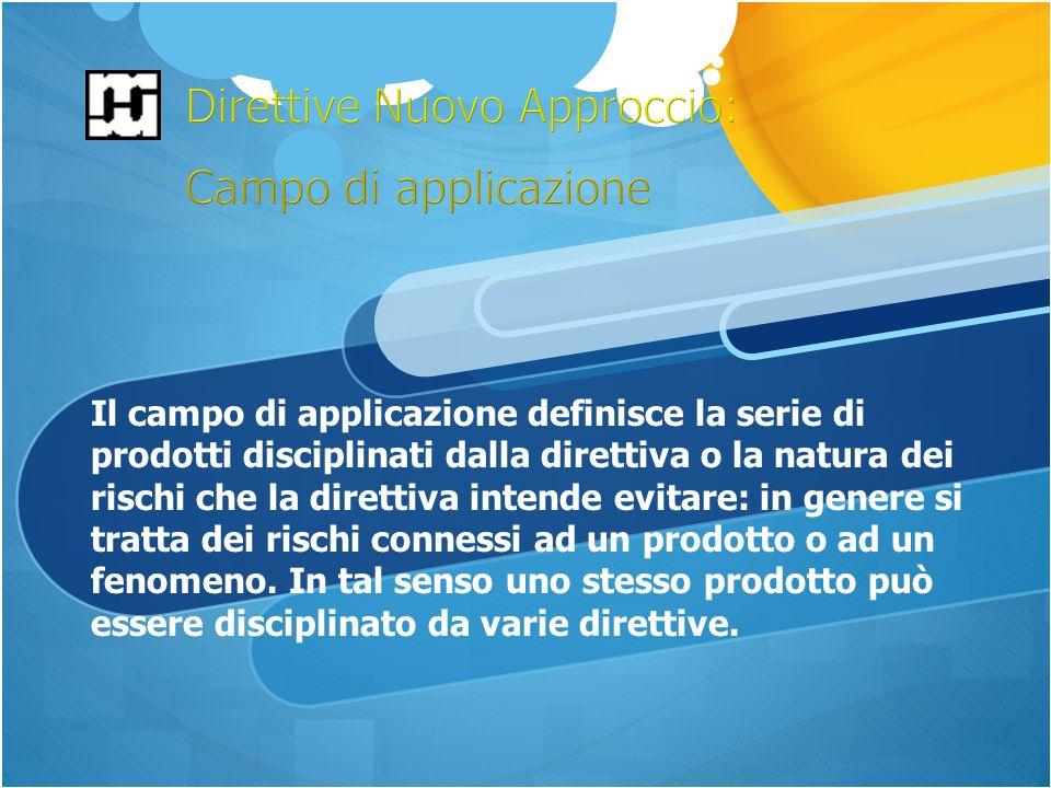 Il campo di applicazione definisce la serie di prodotti disciplinati dalla direttiva o la natura dei rischi che la direttiva intende evitare: in genere si tratta dei rischi connessi ad un prodotto o ad un fenomeno.