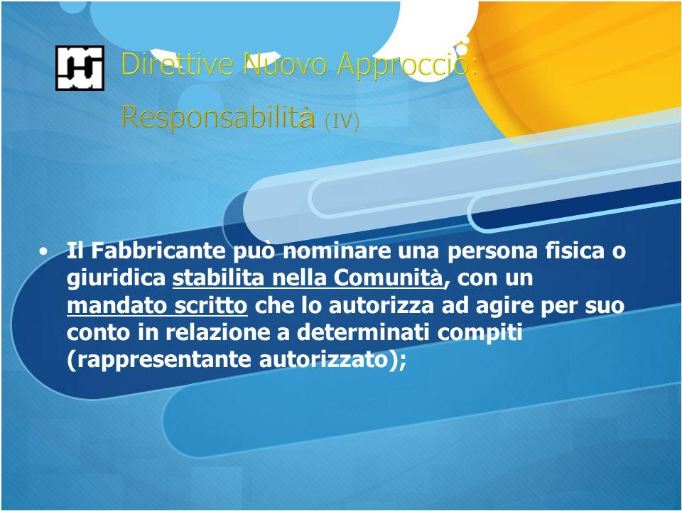 Il Fabbricante può nominare una persona fisica o giuridica stabilita nella Comunit à, con un mandato scritto che lo autorizza ad agire per suo conto in relazione a determinati compiti (rappresentante autorizzato);