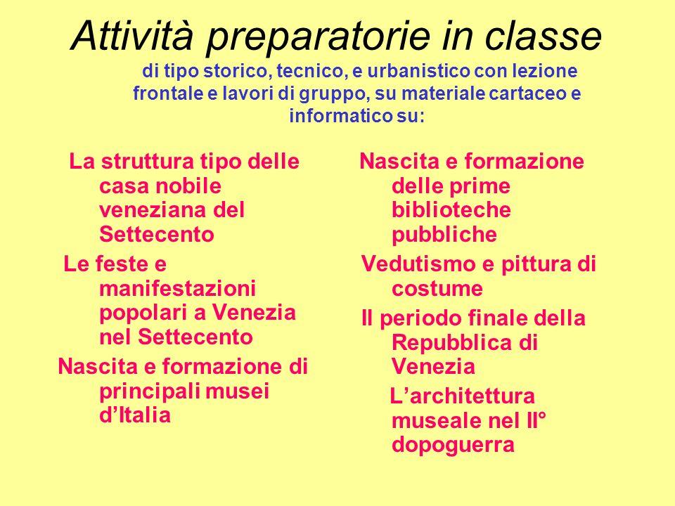 Attività preparatorie in classe
