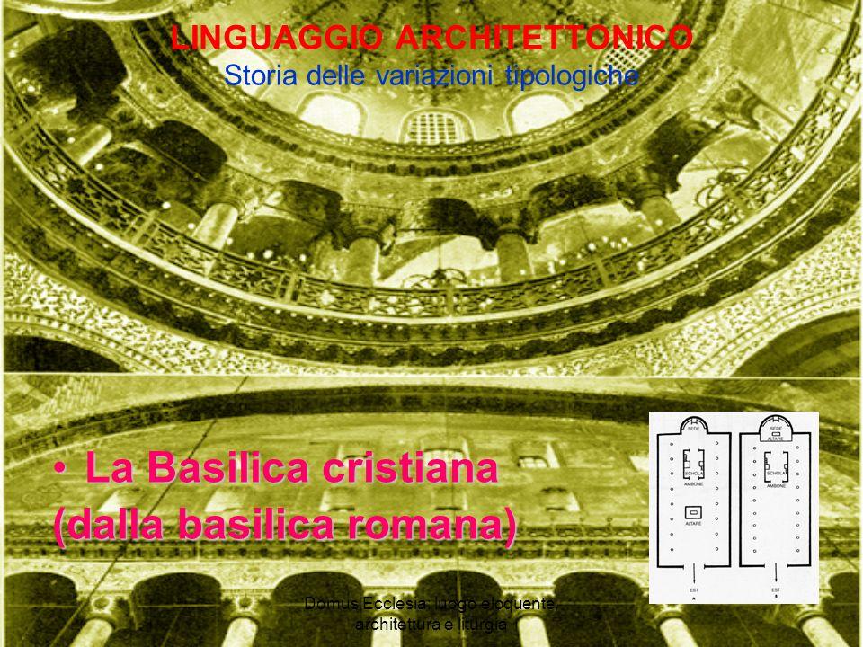 Domus Ecclesia: luogo eloquente, architettura e liturgia LINGUAGGIO ARCHITETTONICO Storia delle variazioni tipologiche La Basilica cristianaLa Basilica cristiana (dalla basilica romana)