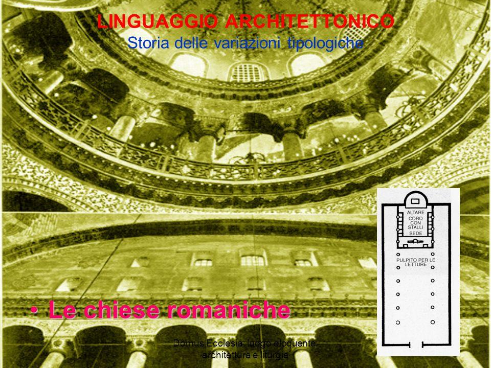 Domus Ecclesia: luogo eloquente, architettura e liturgia LINGUAGGIO ARCHITETTONICO Storia delle variazioni tipologiche Le chiese romanicheLe chiese romaniche