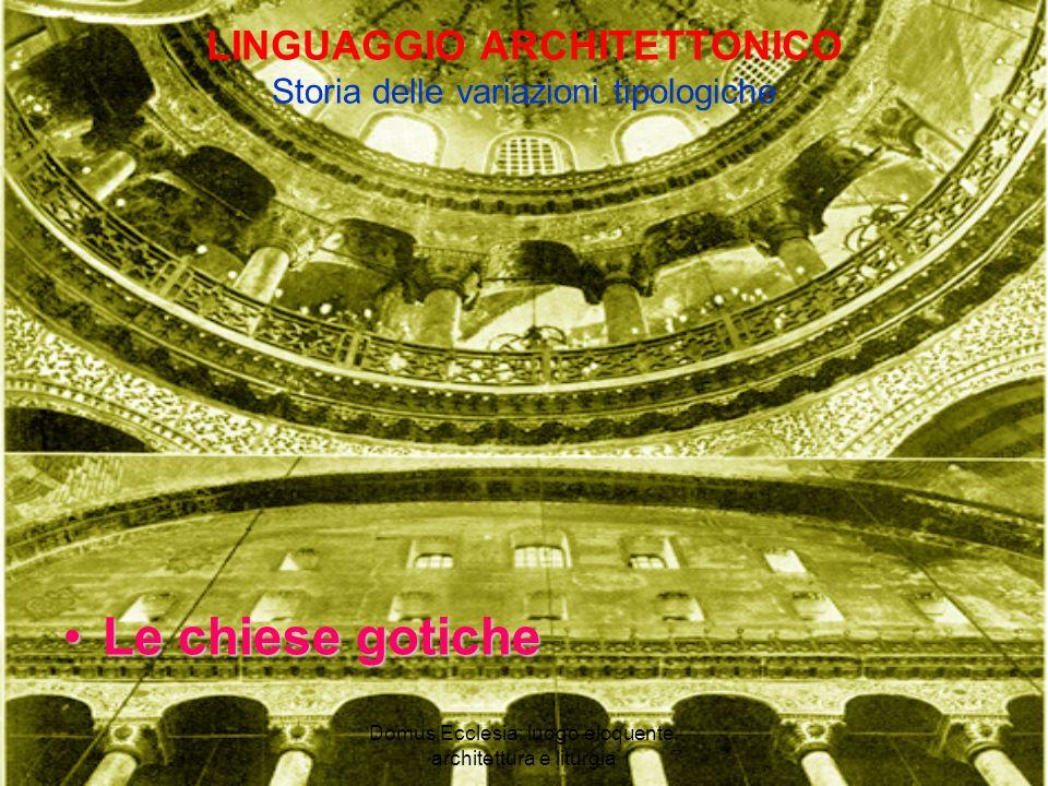 Domus Ecclesia: luogo eloquente, architettura e liturgia LINGUAGGIO ARCHITETTONICO Storia delle variazioni tipologiche Le chiese goticheLe chiese gotiche