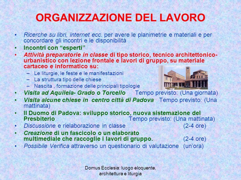 Domus Ecclesia: luogo eloquente, architettura e liturgia ORGANIZZAZIONE DEL LAVORO Ricerche su libri, internet ecc.