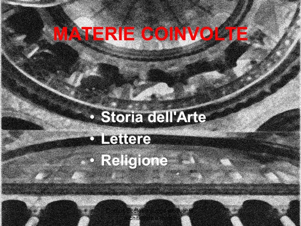 Domus Ecclesia: luogo eloquente, architettura e liturgia MATERIE COINVOLTE