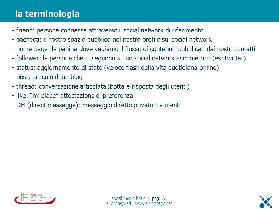 - friend: persone connesse attraverso il social network di riferimento - bacheca: il nostro spazio pubblico nel nostro profilo sul social network - ho