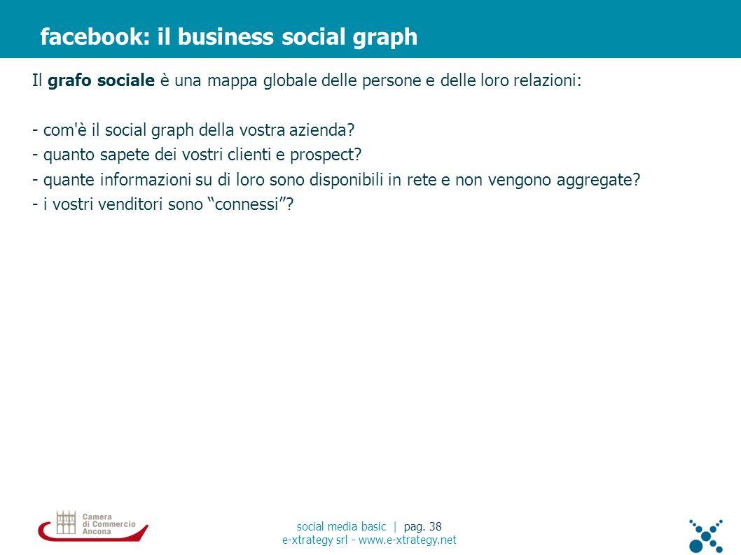 Il grafo sociale è una mappa globale delle persone e delle loro relazioni: - com è il social graph della vostra azienda.