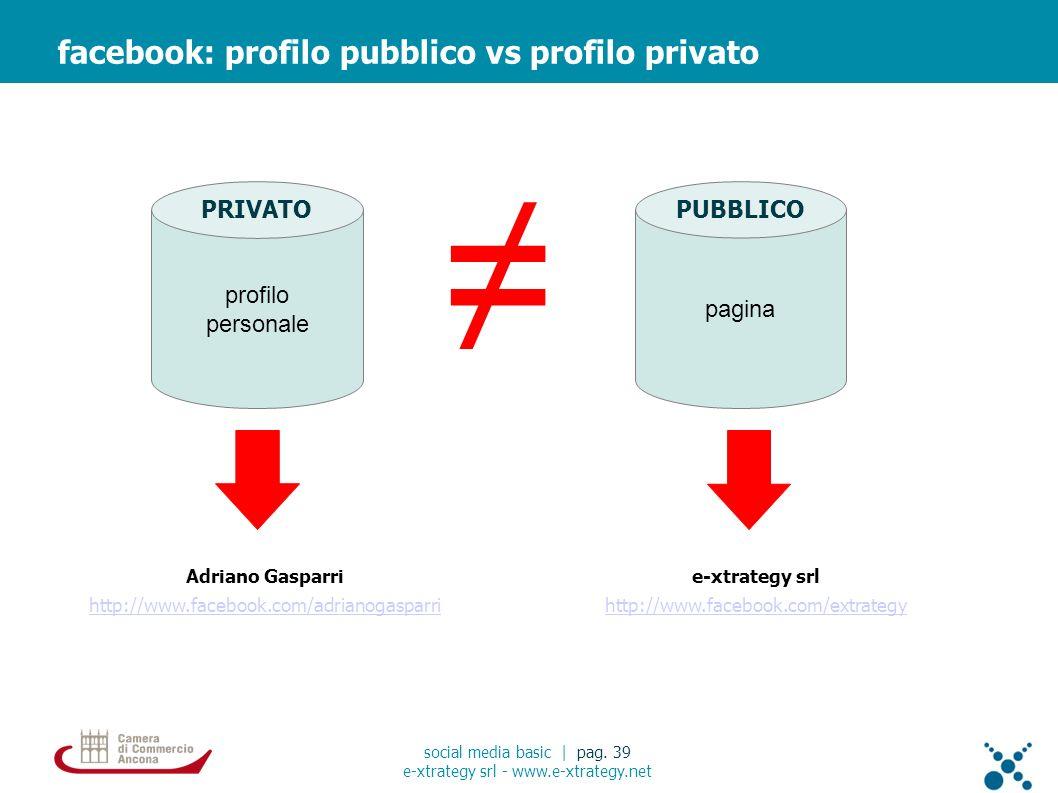 Adriano Gasparri http://www.facebook.com/adrianogasparri facebook: profilo pubblico vs profilo privato social media basic | pag. 39 e-xtrategy srl - w