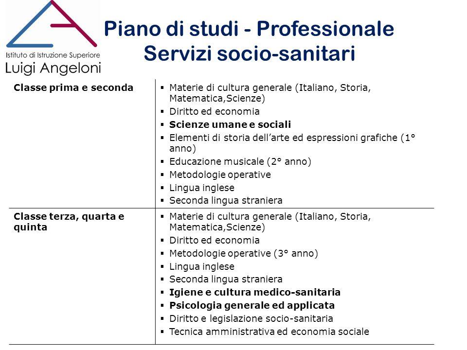 Piano di studi - Professionale Servizi socio-sanitari Piano di studi - Professionale Servizi socio-sanitari Classe prima e seconda Materie di cultura