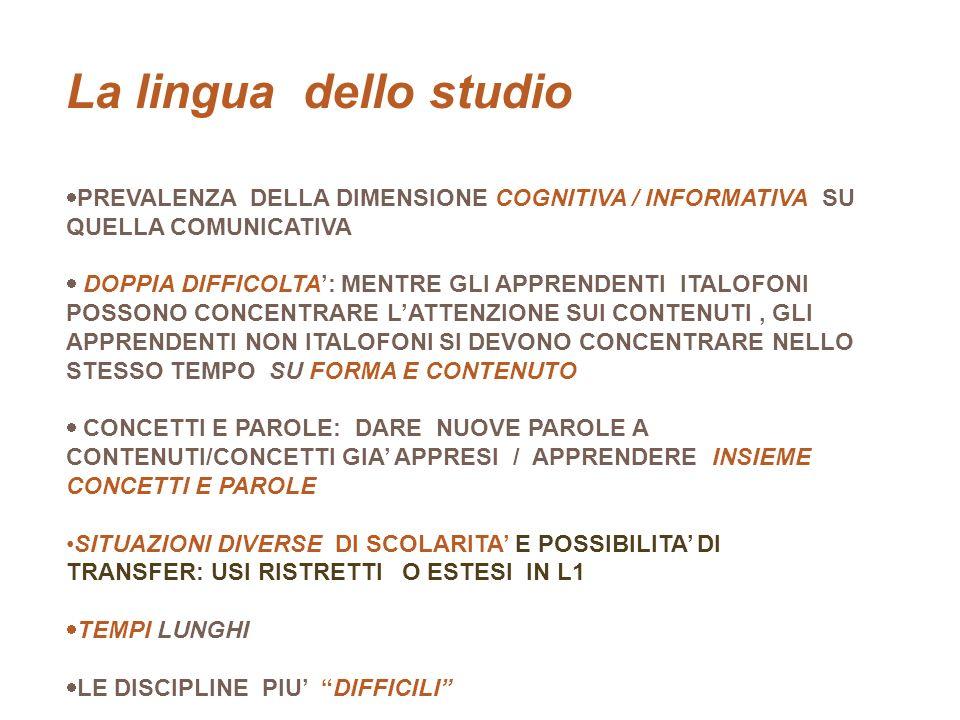 La lingua dello studio studio TR LO STUDIO PREVALENZA DELLA DIMENSIONE COGNITIVA / INFORMATIVA SU QUELLA COMUNICATIVA DOPPIA DIFFICOLTA: MENTRE GLI AP