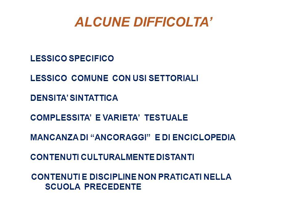 ALCUNE DIFFICOLTA LESSICO SPECIFICO LESSICO COMUNE CON USI SETTORIALI DENSITA SINTATTICA COMPLESSITA E VARIETA TESTUALE MANCANZA DI ANCORAGGI E DI ENC