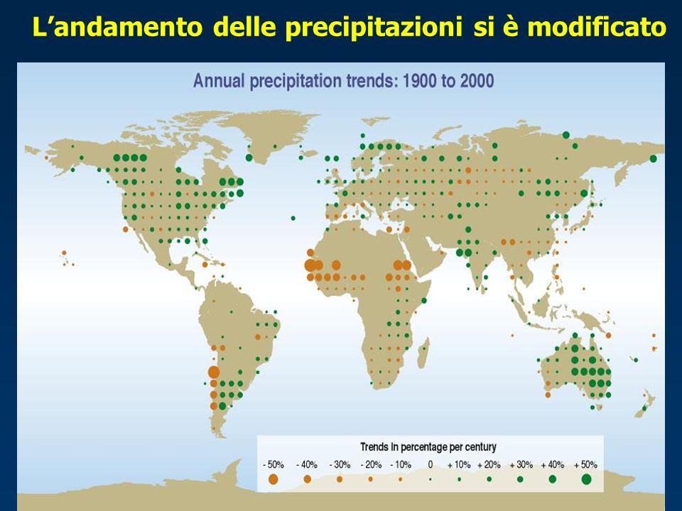 Landamento delle precipitazioni si è modificato