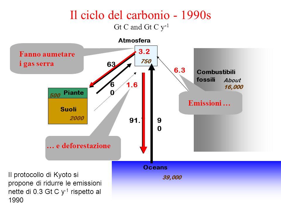 Il ciclo del carbonio - 1990s Gt C and Gt C y -1 Atmosfera Combustibili fossili 6.3 63 91.7 6060 9090 3.2 Piante Suoli Oceans 750 500 2000 39,000 Abou