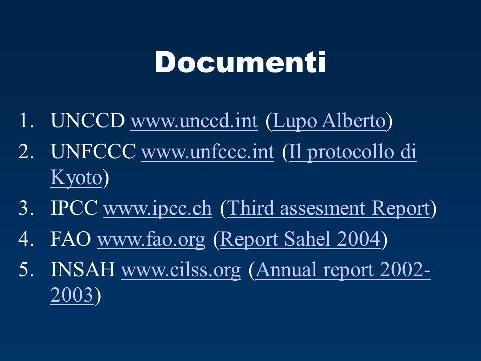 Documenti 1.UNCCD www.unccd.int (Lupo Alberto)www.unccd.intLupo Alberto 2.UNFCCC www.unfccc.int (Il protocollo di Kyoto)www.unfccc.intIl protocollo di