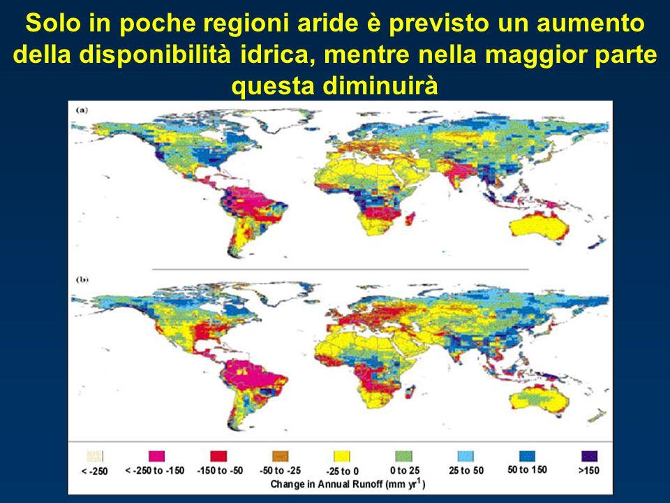 Solo in poche regioni aride è previsto un aumento della disponibilità idrica, mentre nella maggior parte questa diminuirà