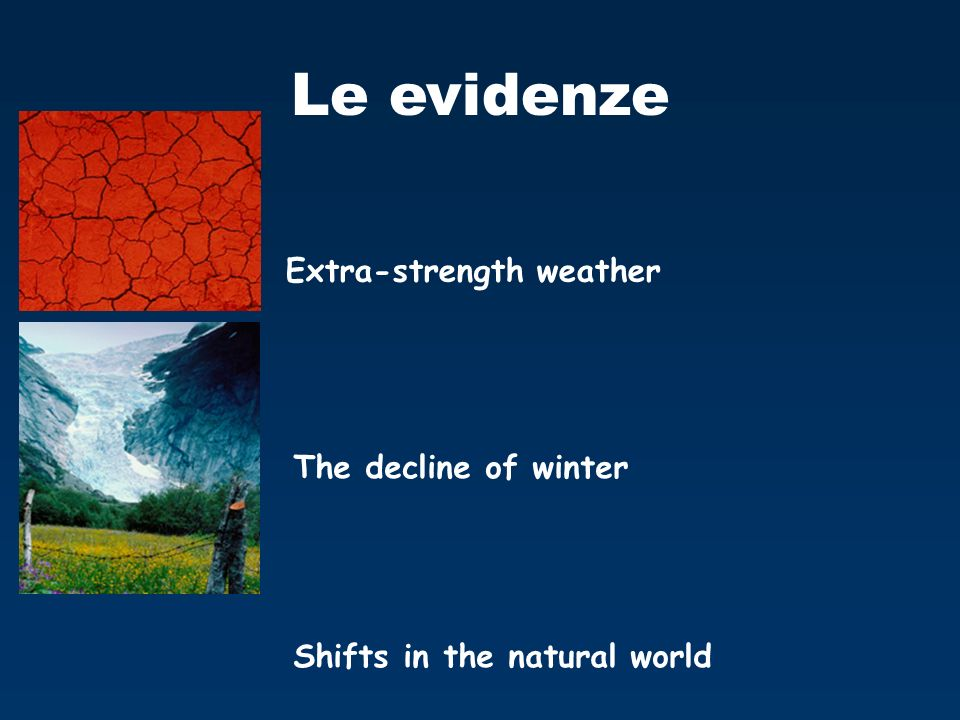 Le evidenze Extra-strength weather The decline of winter Shifts in the natural world