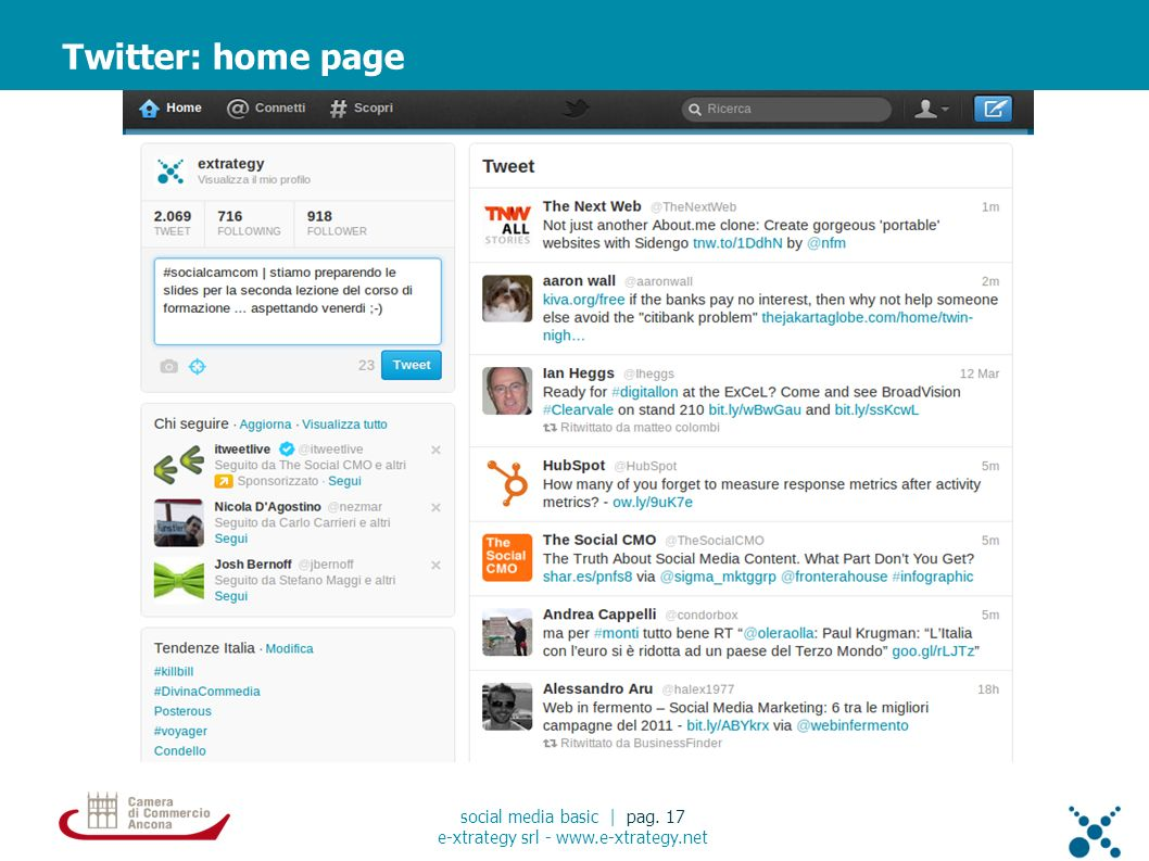 Twitter: home page social media basic | pag. 17 e-xtrategy srl - www.e-xtrategy.net