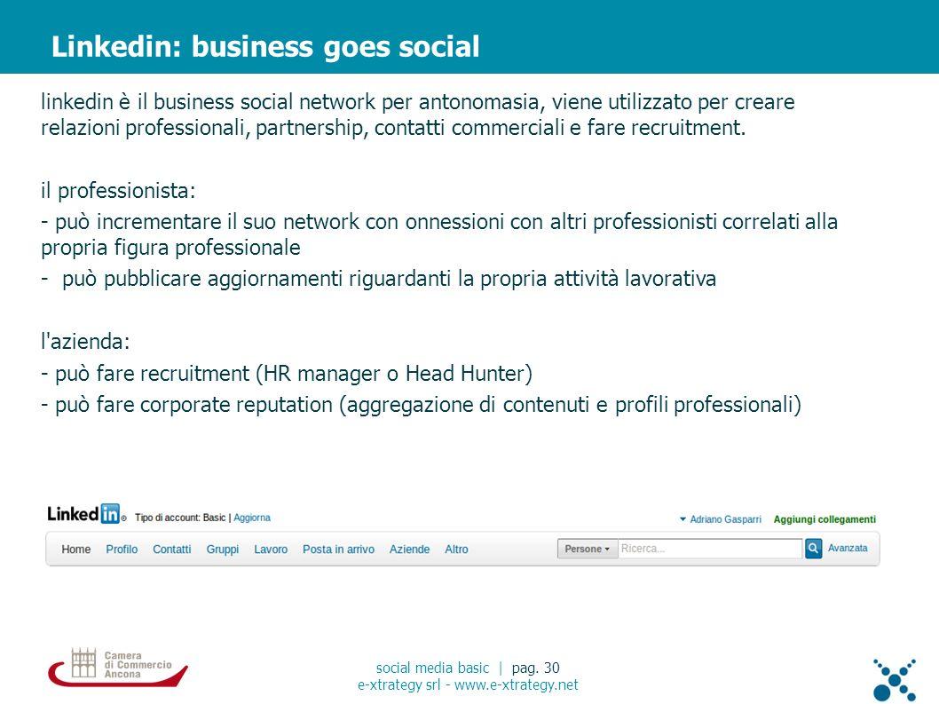 linkedin è il business social network per antonomasia, viene utilizzato per creare relazioni professionali, partnership, contatti commerciali e fare recruitment.
