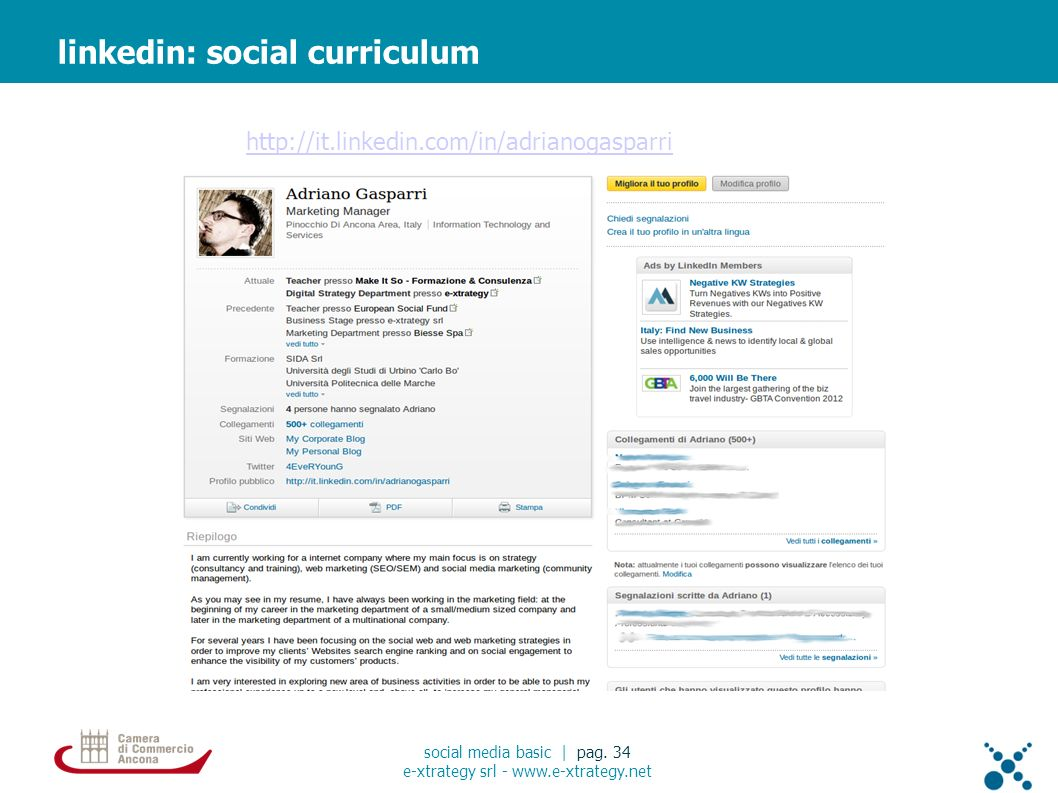 linkedin: social curriculum social media basic | pag.