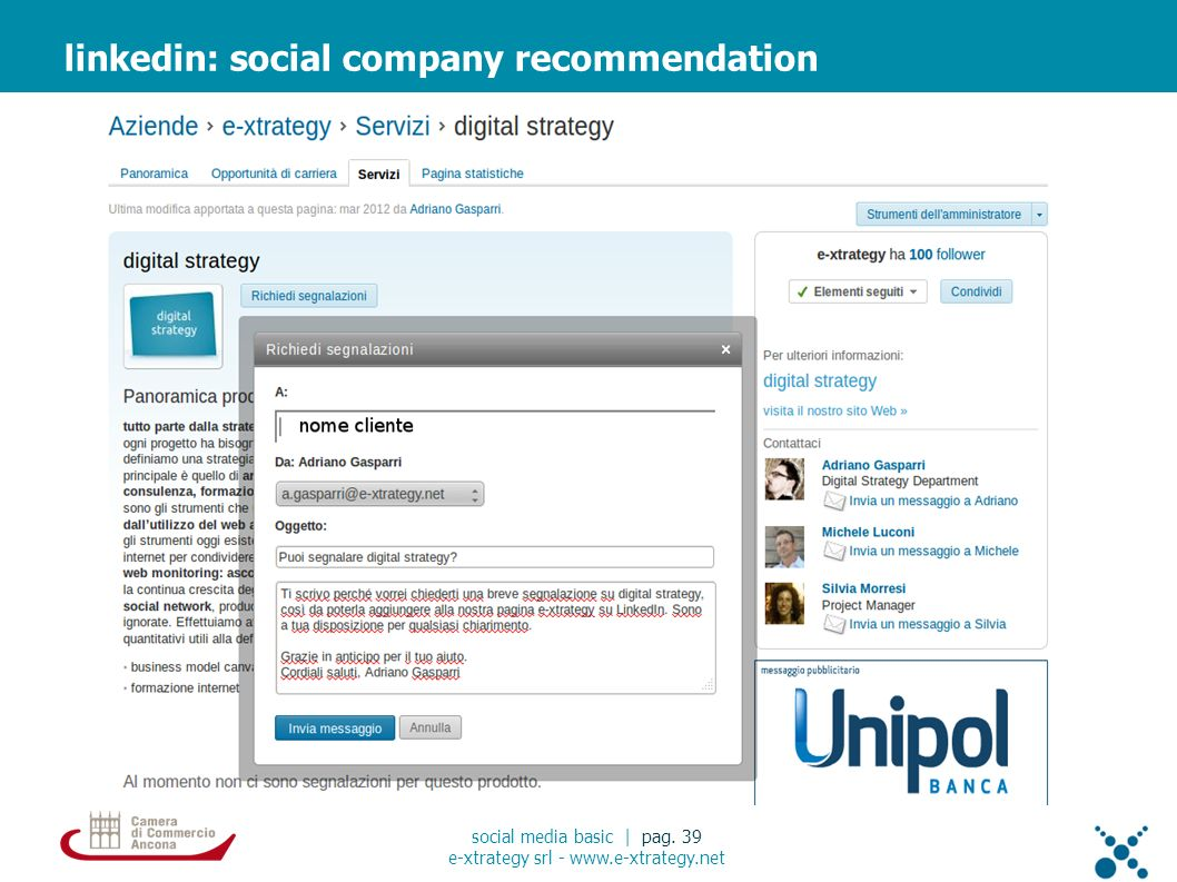 linkedin: social company recommendation social media basic | pag.