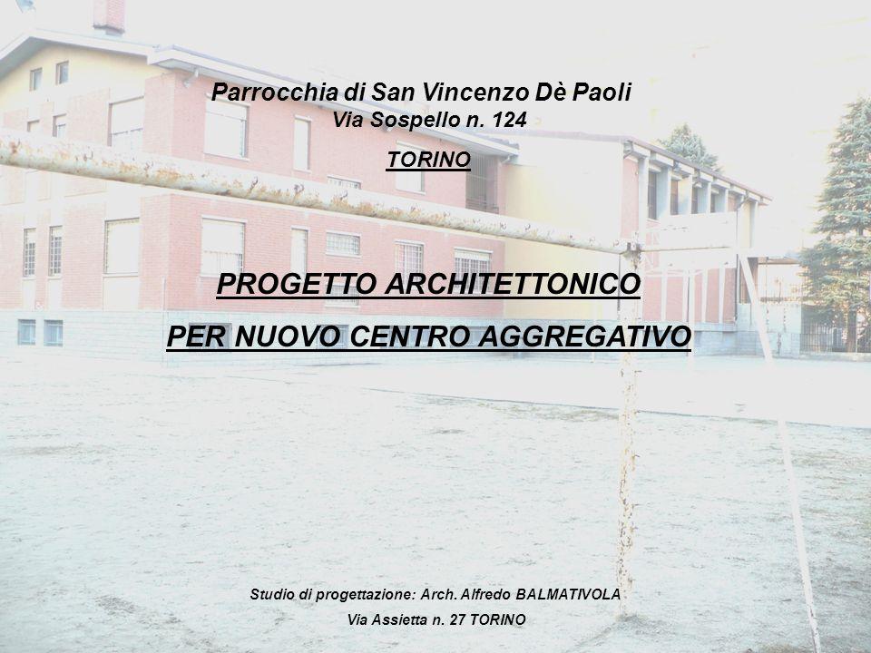PROGETTO ARCHITETTONICO PER NUOVO CENTRO AGGREGATIVO Via Sospello n. 124 TORINO Parrocchia di San Vincenzo Dè Paoli Studio di progettazione: Arch. Alf