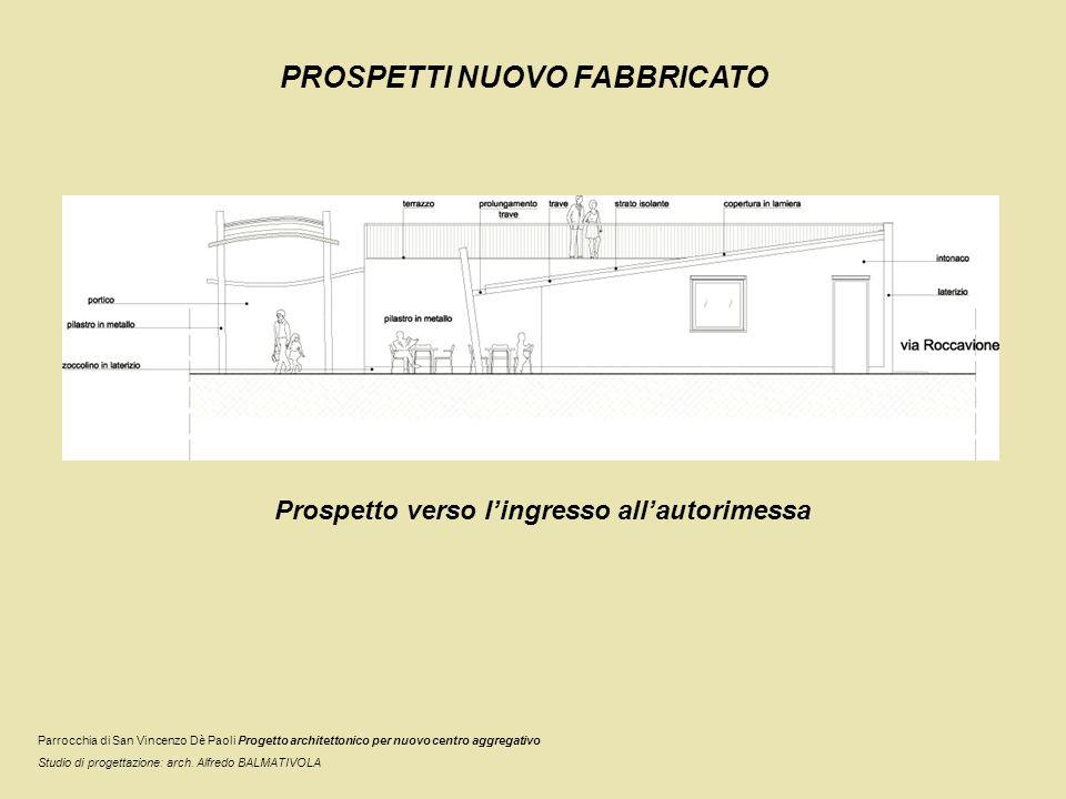 PROSPETTI NUOVO FABBRICATO Prospetto verso lingresso allautorimessa Parrocchia di San Vincenzo Dè Paoli Progetto architettonico per nuovo centro aggre