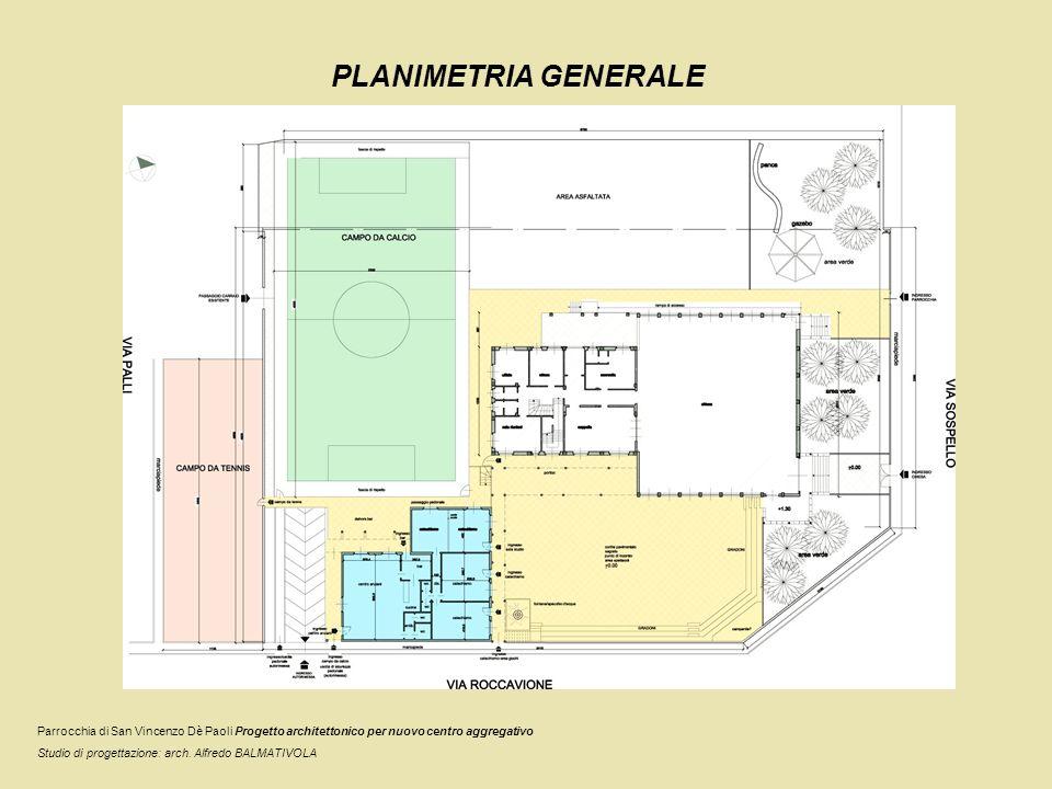 PLANIMETRIA GENERALE Parrocchia di San Vincenzo Dè Paoli Progetto architettonico per nuovo centro aggregativo Studio di progettazione: arch. Alfredo B