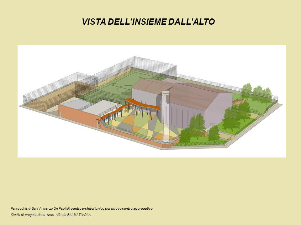 VISTA DELLINSIEME AD ALTEZZA UOMO La pavimentazione colorata nel cortile… Parrocchia di San Vincenzo Dè Paoli Progetto architettonico per nuovo centro aggregativo Studio di progettazione: arch.
