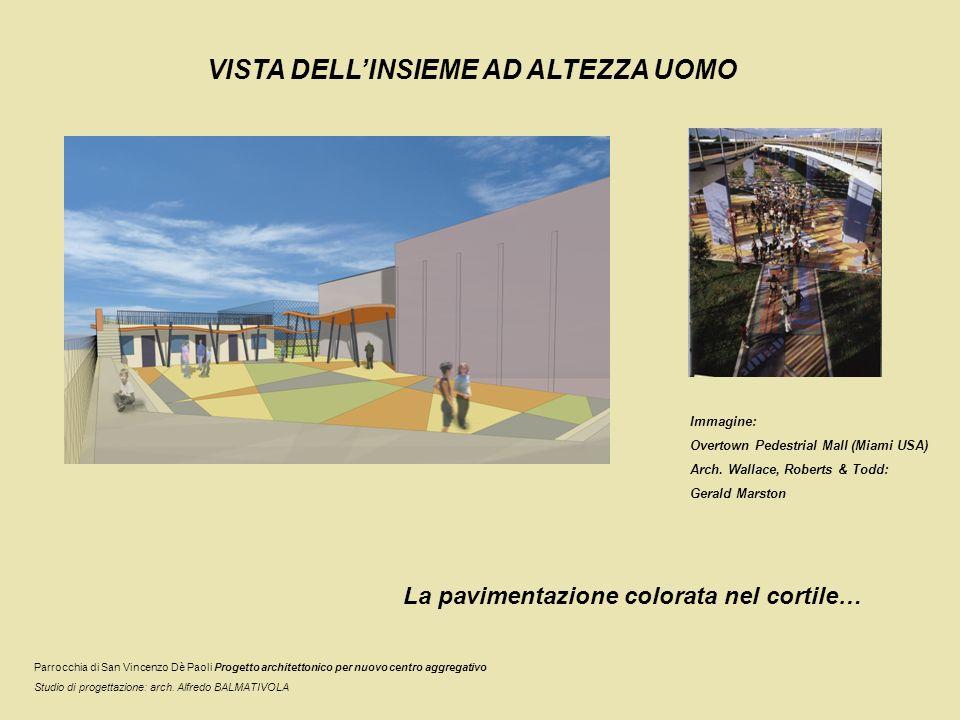 VISTA DELLINSIEME AD ALTEZZA UOMO La pavimentazione colorata nel cortile… Parrocchia di San Vincenzo Dè Paoli Progetto architettonico per nuovo centro