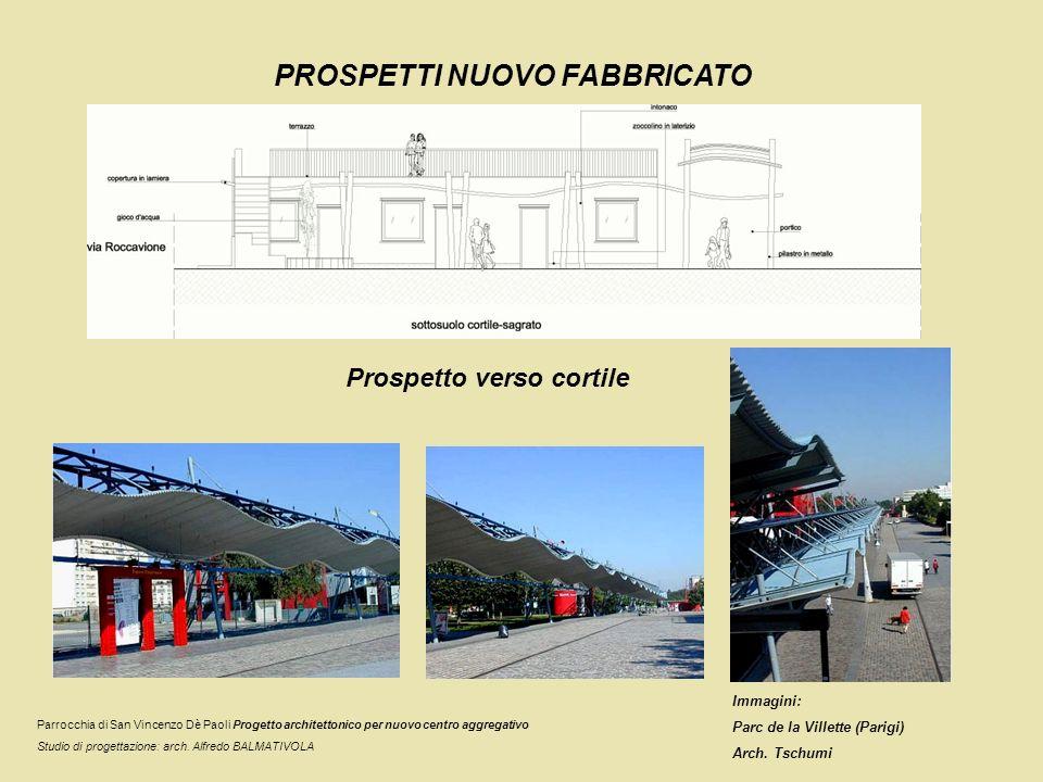 PROSPETTI NUOVO FABBRICATO Prospetto verso cortile Parrocchia di San Vincenzo Dè Paoli Progetto architettonico per nuovo centro aggregativo Studio di