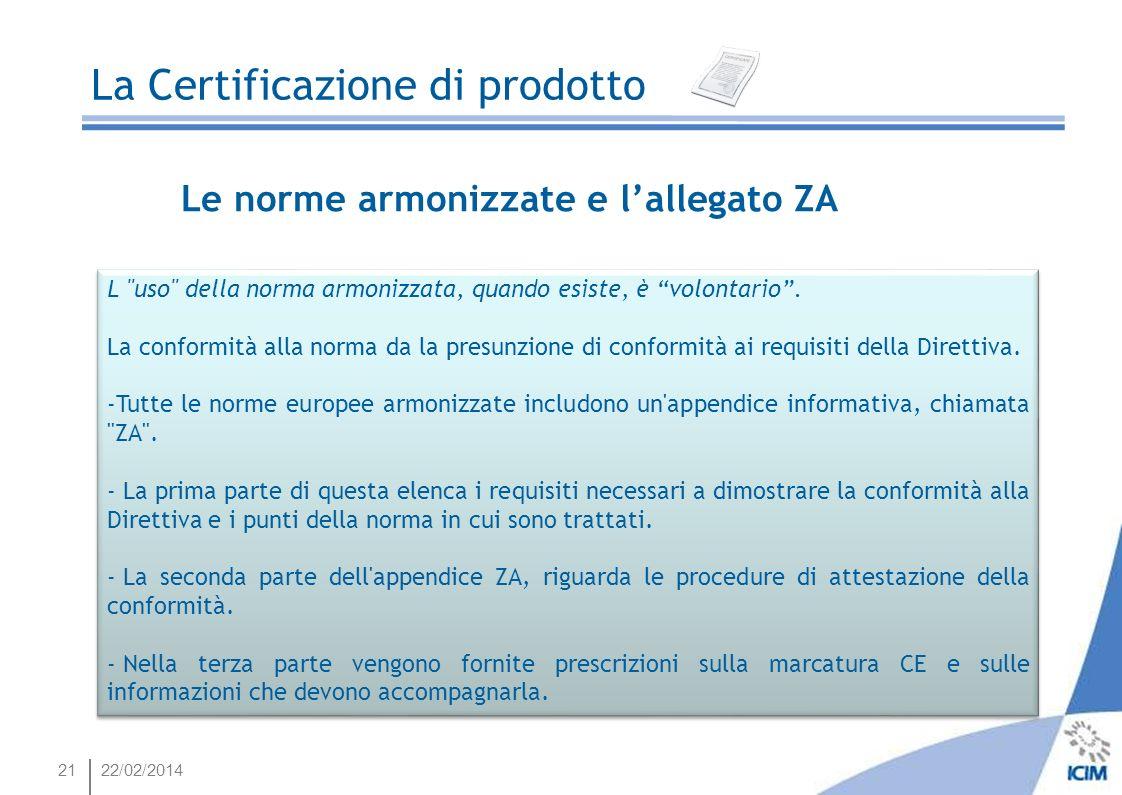 2122/02/2014 La Certificazione di prodotto Le norme armonizzate e lallegato ZA L
