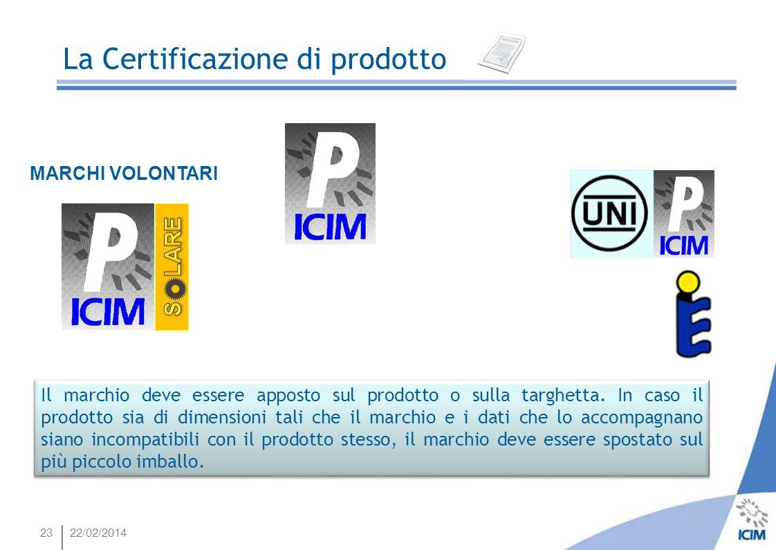 2322/02/2014 La Certificazione di prodotto MARCHI VOLONTARI Il marchio deve essere apposto sul prodotto o sulla targhetta. In caso il prodotto sia di