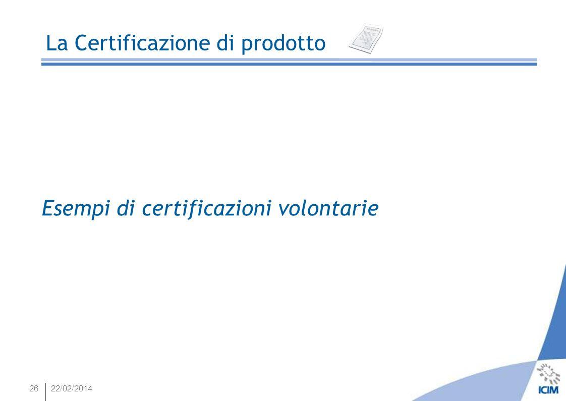 2622/02/2014 La Certificazione di prodotto Esempi di certificazioni volontarie