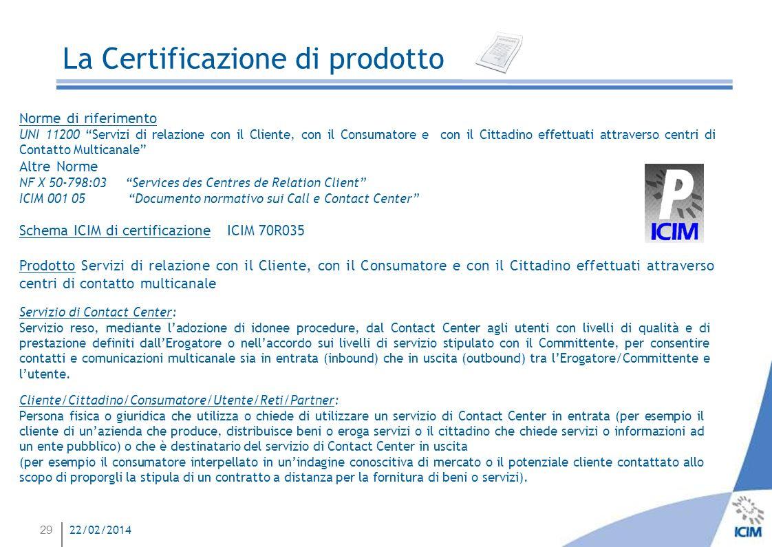 29 22/02/2014 La Certificazione di prodotto Norme di riferimento UNI 11200 Servizi di relazione con il Cliente, con il Consumatore e con il Cittadino
