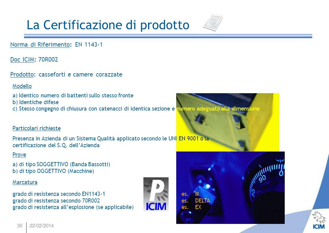 3022/02/2014 La Certificazione di prodotto Norma di Riferimento: EN 1143-1 Doc ICIM: 70R002 Prodotto: casseforti e camere corazzate Modello a) Identic