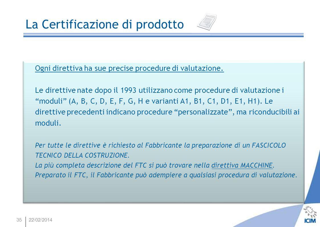 35 Ogni direttiva ha sue precise procedure di valutazione. Le direttive nate dopo il 1993 utilizzano come procedure di valutazione i moduli (A, B, C,