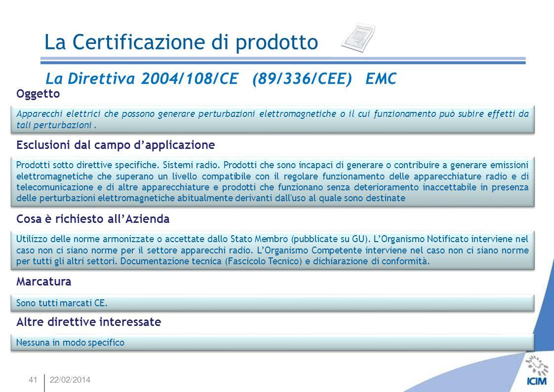 4122/02/2014 La Direttiva 2004/108/CE (89/336/CEE) EMC Oggetto Apparecchi elettrici che possono generare perturbazioni elettromagnetiche o il cui funz