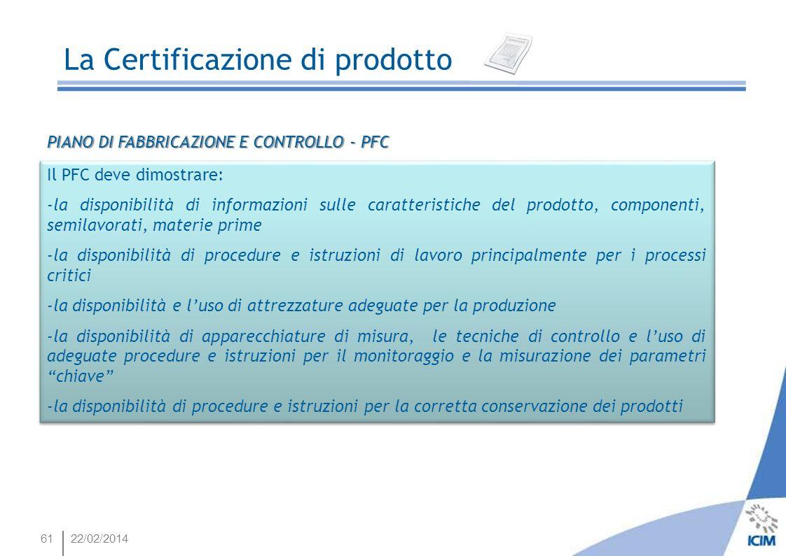 6122/02/2014 Il PFC deve dimostrare: -la disponibilità di informazioni sulle caratteristiche del prodotto, componenti, semilavorati, materie prime -la