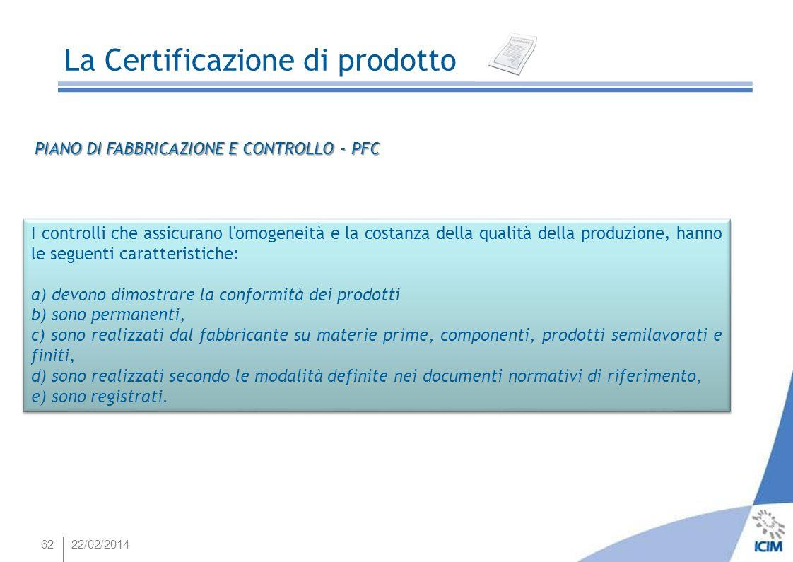 6222/02/2014 I controlli che assicurano l'omogeneità e la costanza della qualità della produzione, hanno le seguenti caratteristiche: a) devono dimost