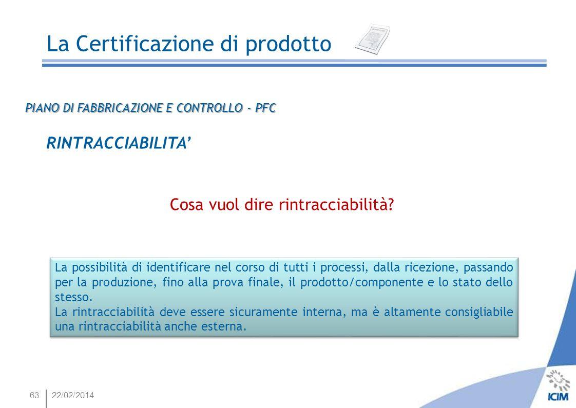 6322/02/2014 La Certificazione di prodotto RINTRACCIABILITA Cosa vuol dire rintracciabilità? La possibilità di identificare nel corso di tutti i proce