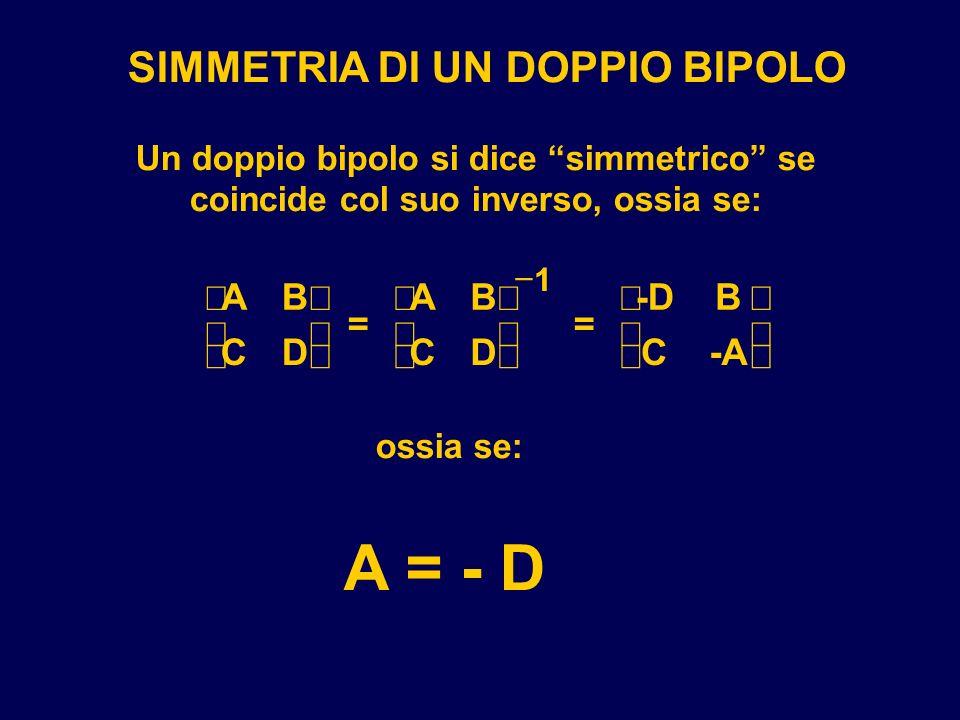 SIMMETRIA DI UN DOPPIO BIPOLO Un doppio bipolo si dice simmetrico se coincide col suo inverso, ossia se: AB CD = AB CD = -DB C-A 1 ossia se: A = - D