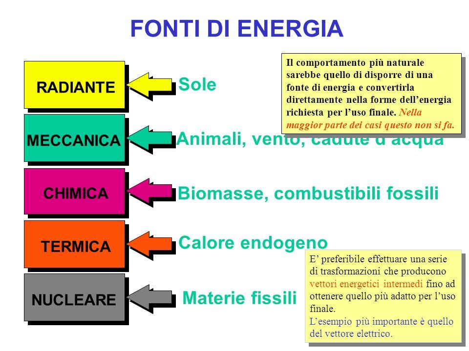 FONTI DI ENERGIA MECCANICA TERMICA RADIANTE CHIMICA NUCLEARE Sole Animali, vento, cadute dacqua Biomasse, combustibili fossili Calore endogeno Materie