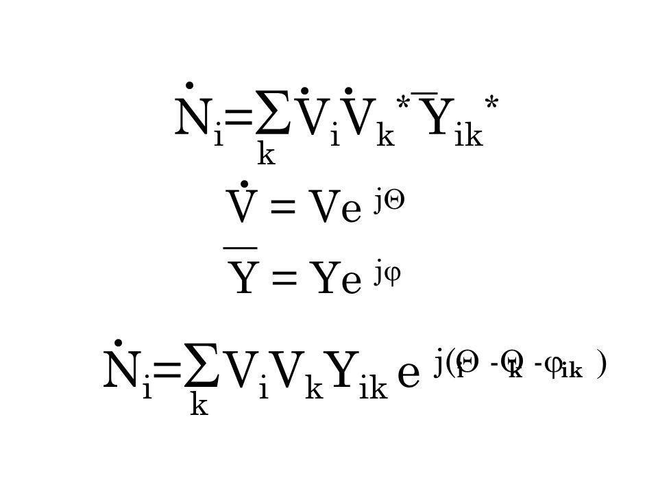 k N i = V i V k * Y ik * V = Ve j Y = Ye j N i = V i V k Y ik e j( - - i k ik k