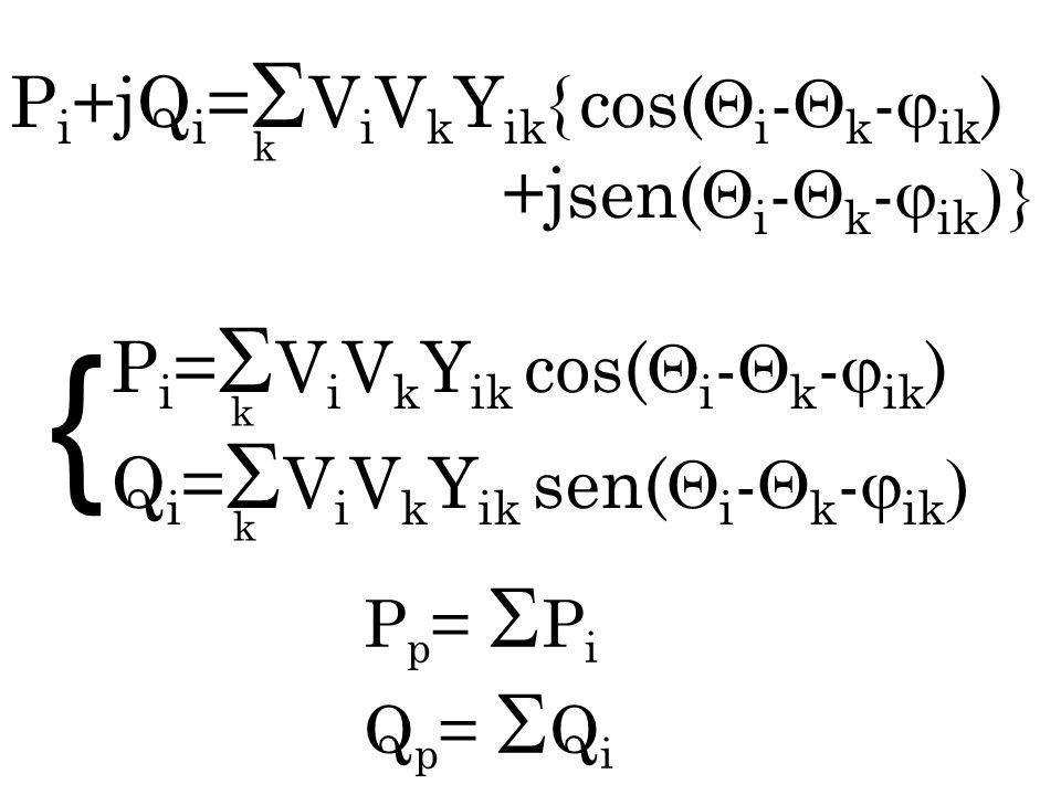 P i = V i V k Y ik cos( i - k - ik ) Q i = V i V k Y ik sen( i - k - ik k k P p = P i Q p = Q i { k P i +jQ i = V i V k Y ik { cos( i - k - ik ) +jsen