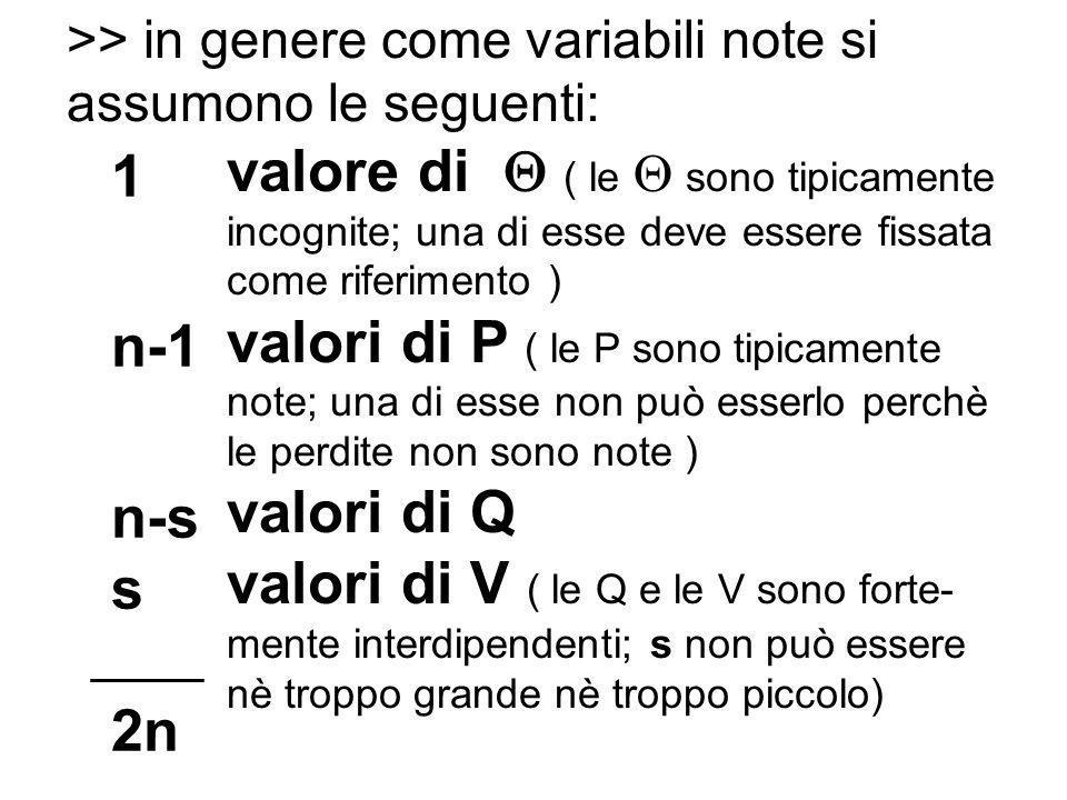 >> in genere come variabili note si assumono le seguenti: valore di ( le sono tipicamente incognite; una di esse deve essere fissata come riferimento ) valori di P ( le P sono tipicamente note; una di esse non può esserlo perchè le perdite non sono note ) valori di Q valori di V ( le Q e le V sono forte- mente interdipendenti; s non può essere nè troppo grande nè troppo piccolo) 1 n-1 n-s s 2n