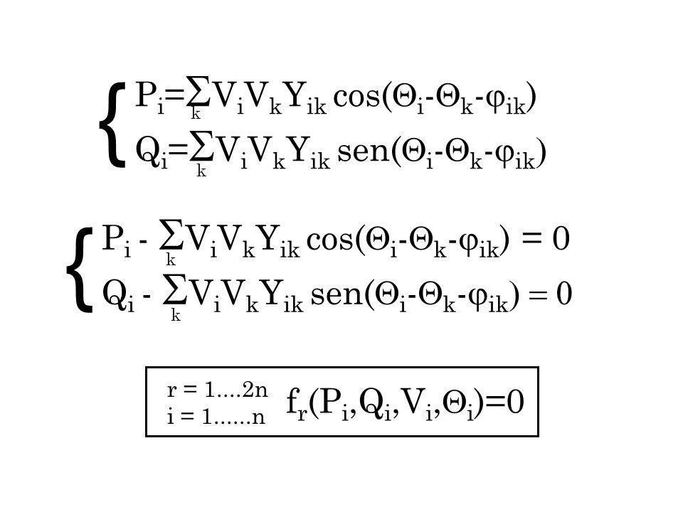 f r (P i,Q i,V i, i )=0 r = 1....2n i = 1......n k P i = V i V k Y ik cos( i - k - ik ) Q i = V i V k Y ik sen( i - k - ik k P i - V i V k Y ik cos( i - k - ik ) = 0 Q i - V i V k Y ik sen( i - k - ik k k { {